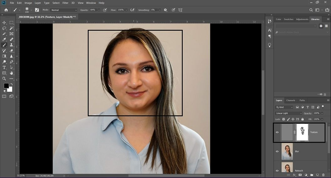 Use a Soft Brush tool and draw on the face of the headshot