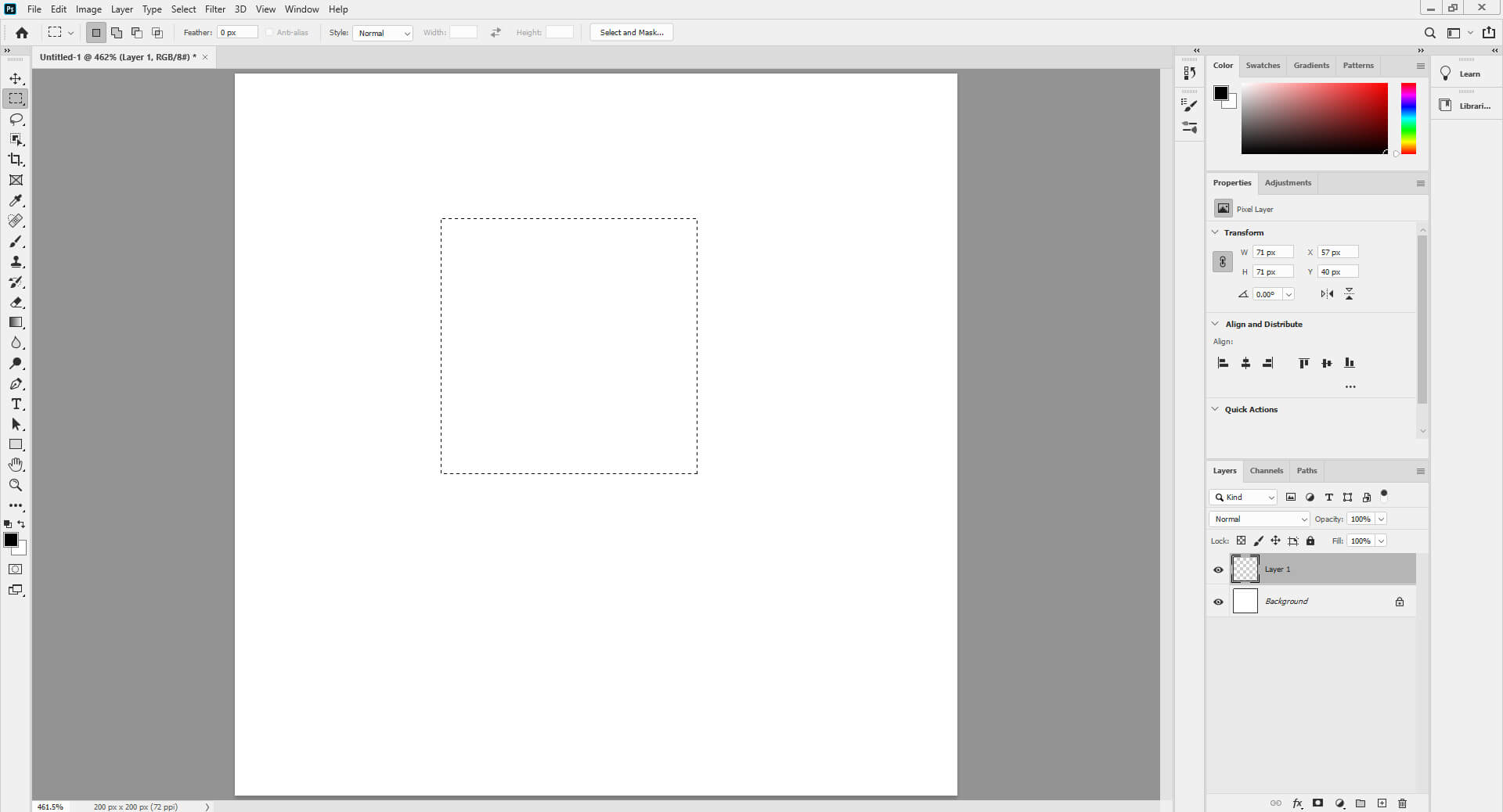 Square Brush - Marquee tool selection