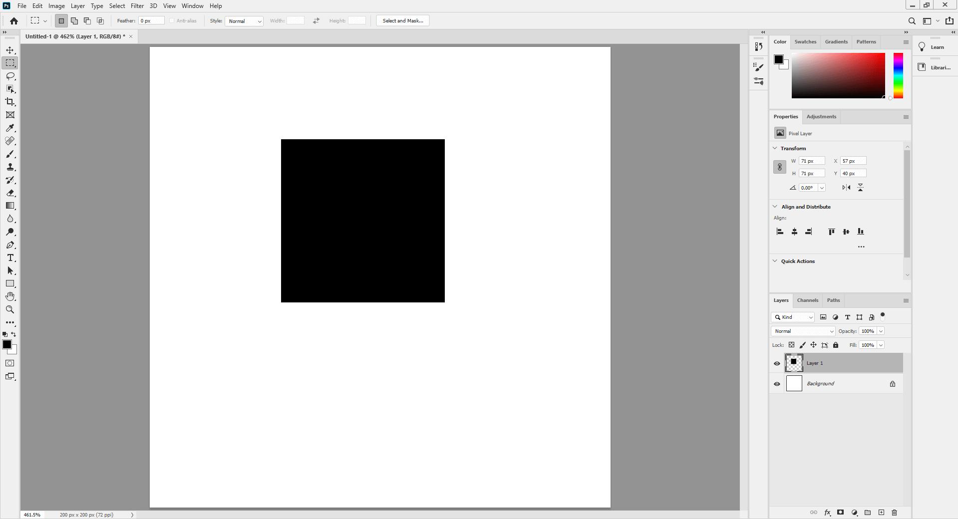Square brush - black foreground