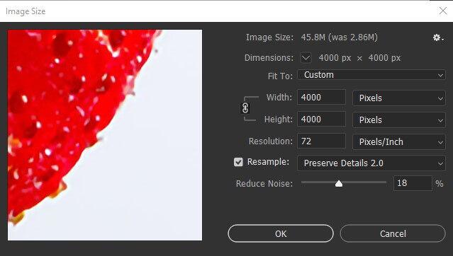 Step 4 photoshop image size popup menu