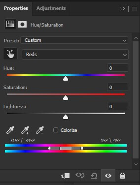step 15 hue and saturation slider hand tool