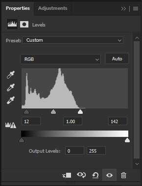 step 9 photoshop levels popup